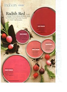 Radish Red paint colors via BHG.com Nail polish is the color I'd like to do behind my bed ax an a backdrop wall behind bed faux headboard...would go well with comforter set!