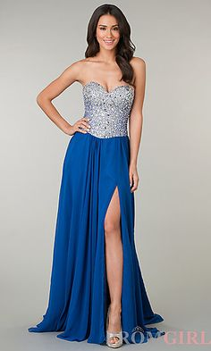 Jasz Long Strapless Dress with Beaded Bodice at PromGirl.com