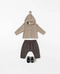 zara knitted cardigan $32.90, checked trousers $25.90, leather boot $29.90