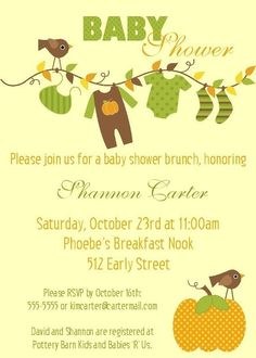 Autumn Baby Shower Invitation  5x7 Digital File by Bear River Photo Greetings, $15.00