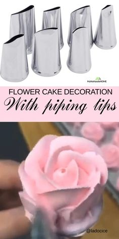 Flower cake decoration - Use piping tips for beautiful cake and cupcake decoration Cake Icing Tips, Cake Decorating Frosting, Cake Decorating Techniques, Cake Decorating Tutorials, Frosting Recipes, Decorating Ideas, Professional Cake Decorating, Creative Cake Decorating, Cookie Decorating