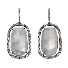 Milky Grey Diamond Slice Earrings | From a unique collection of vintage dangle earrings