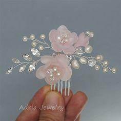 Postizos de flores rosas boda tocados novia accesorios alambre