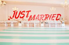 Just Married Wall Decal and ummm... That dance floor is AMAZING!