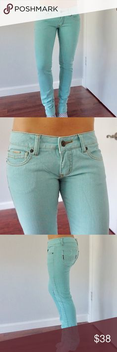 Mint green low rise jeans Tan stitching - low rise - never been altered Billabong Pants Skinny