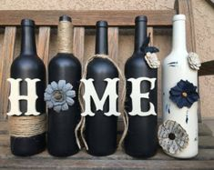 Decorated wine bottles. Painted wine by WineCraftCreations on Etsy
