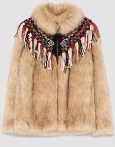 Fake Fur Mantel ZARA bunt neu braun rot beige Jacke Coat XS 34 Neu schwarz