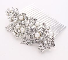 Sparkling crystal pearl hair comb for bride. This elegant crystal pearl wedding hair comb accessory will be a very nice addition to your wedding