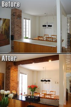 Lighting added to a faux wood beam in the kitchen.