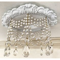 Recessed Light Trim new pearl style with 4 strands of pearls in white or cream, and 3 different crystal styles. Made in the USA by Beaux-Arts Classic Products. Installing Recessed Lighting, Recessed Can Lights, Recessed Lighting Trim, Chandelier Makeover, Chandelier Lighting, Purple Chandelier, Chandelier Ideas, Crystal Chandeliers, White Wall Decor