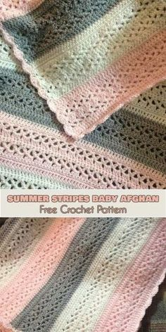 Summer Stripes Baby Afghan [Free Crochet Pattern] ONLY FREE crocheting patterns for Amigurumi, Toys, Afghans, Baby Blankets, New Stitches and Tutorials and many more!