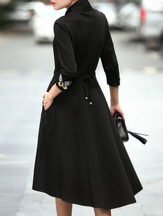 NITTA Black Embroidered 3/4 Sleeve Midi