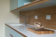 Crouch End Kitchen worktop with custom chopping board and sink