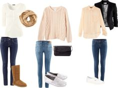 Fall outfits (: by ashleyglass featuring skinny fit jeansMonki going out top, $51 / H&M button shirt, $24 / H&M button shirt, $21 / H&M  jacket, $49 / H&M super low rise skinny jeans, $49 / H&M super low rise skinny jeans, $16 / H&M skinny fit jeans, $13 / UGG Australia  boots, $325 / Vans lace up sneaker, $58 / TOMS silver glitter shoes, $65 / Zara zipper bag / H&M knit infinity scarve, $13