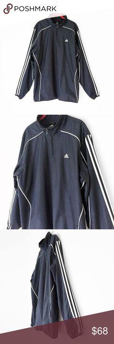 a7828e08044084 ADIDAS 3 STRIPES pullover windbreaker shell jacket ADIDAS navy. three  stripe. pockets. mesh