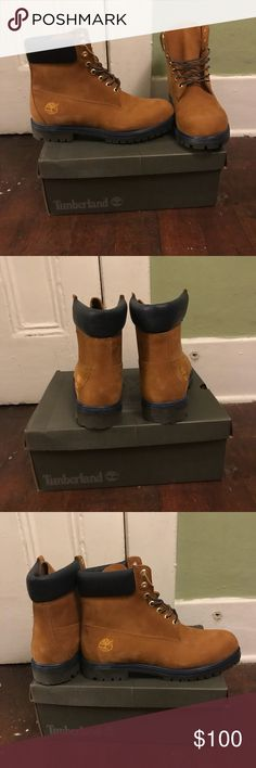 Timberland 6 inch Premium waterproof boots Never been warm 6 inch Waterproof Work boot. Tan color with black and Blue sole. Timberland Shoes Boots