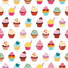 Illustration of Yummy cupcakes vector seamless pattern vector art, clipart and stock vectors. Cupcake Vector, Material Design Background, Yummy Cupcakes, Free Vector Art, Pattern Wallpaper, Illustrators, Print Patterns, Art Pieces, Kids Rugs