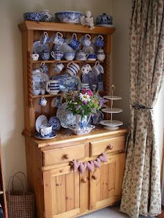 mainly car boot and charity shop finds, with a few treats from shops make a lovely collection of mis-matched china Blue Dresser, Welsh Dresser, Cottage Kitchens, Country Kitchens, Dresser Styling, White Heaven, Hutch Cabinet, Patchwork Heart, Kitchen Dresser