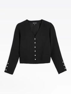 veste pression noire en crêpe | agnès b. Pret A Porter Feminin, Blouse, Long Sleeve, Sleeves, Sweaters, Collection, Logo, Women, Products