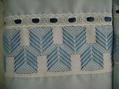 light blue Swedish Embroidery, Towel Embroidery, Cross Stitching, Cross Stitch Embroidery, Huck Towels, Swedish Weaving Patterns, Monks Cloth, Drawn Thread, Bargello