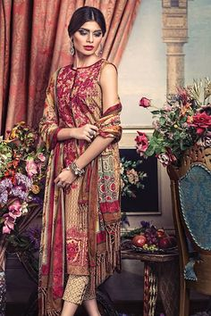 Fall Eid Unstitch Dress Collection 2015 by Ethnic http://clothingpk9.blogspot.com/2015/09/cambric-fall-eid-unstitch-dress-collection-by-ethnic.html