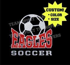 Eagles Soccer Glitter Iron-On Transfer! - Custom Bling Vinyl Transfer, Applique - DIY Sparkle Shirt! - Team School Spirit Wear! by TeamSpiritTransfers on Etsy