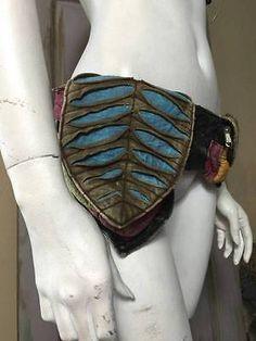 Cotton Razor Cut 3 Pocket Hip Belt Bum Bag PsyTrance Festival Pixie Burning Man