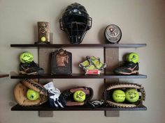 Trophy display with outgrown gloves & skates, pucks too(write stats for game winners or pp goals etc) Softball Trophies, Softball Room Decor, Softball Decorations, Softball Crafts, Softball Mom, Fastpitch Softball, Baseball Mom, Softball Bedroom Ideas, Softball Stuff