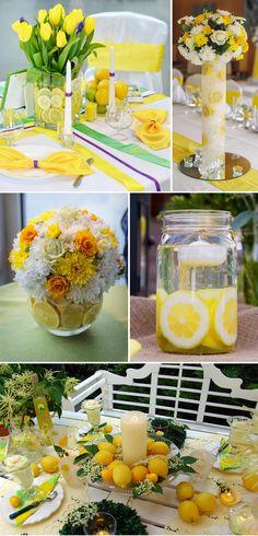 Sommerliche Tischdeko mit Zitronen für die Hochzeit