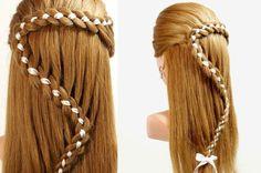 Hairstyles For Long Hair. 4 Strand Braid Hair With Ribbon