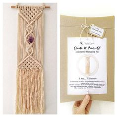 macrame kit ' I Am... CONNECTED' with amethyst, macrame kits, macrame wall hanging, macrame diy, macrame hanging, macrame pattern, talisman