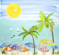 A whimsical #tropical #beach painting that reminds of simple pleasures. #art