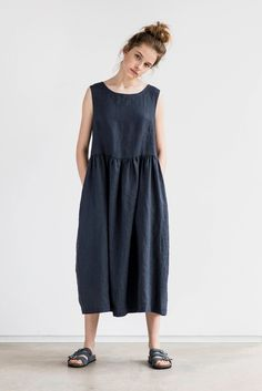 2055b19f7bf6 Smock linen dress in Maxi length / Maxi washed linen summer dress /  Charcoal sleeveless linen summer dress / Washed long linen dress