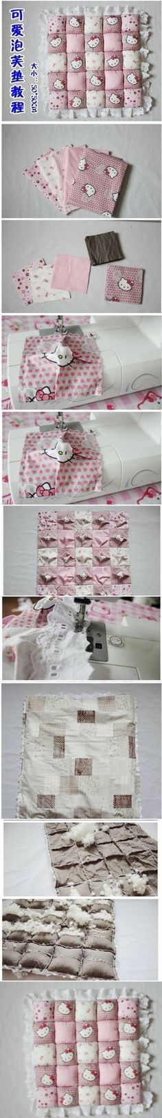 DIY Cute Little Puff Cushions I don't care for hello kitty but this is a great idea Fabric Crafts, Sewing Crafts, Sewing Projects, Diy Projects, Sewing For Kids, Baby Sewing, Baby Crafts, Diy And Crafts, Diy Pillows
