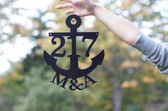 Anchor House Numbers / Wedding Name Sign / Beach themed / Ocean Address Sign / House number / House Address / Ships Priority