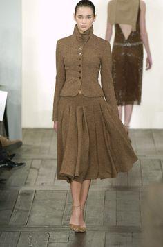 Brown tweed ensemble, full circle skirt and matching princess cut jacket - Ralph Lauren 2004