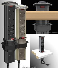 The PDO (Powerdock Original) is a stylish, concealed power outlet system, with six power sockets (3 x 3pin and 3 x 2pin), can be mounted vertically, horizontally, or even inverted. It neatly retracts into the mounting surface when not in use. When you want to connect your power cables, simply pull it up or down and it automatically locks into position, ready for use. (Only available in South Africa)