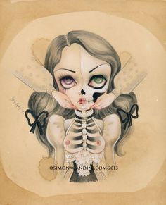 "Touch LIMITED EDITION print signed numbered Simona Candini ""Bones And Poetry"" lowbrow pop surreal big eyes sugar skull girl gothic art on Etsy, $30.00"