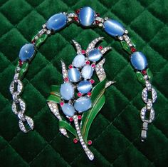 Vintage Trifari Alfred Philippe Brooch/Fur Clip and Bracelet Set  #TrifariAlfredPhilippe