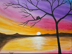 sunset, love birds,original abstract painting,orange,purple pink,24x18inch stretched canvas, ready to hang on Etsy, $89.00