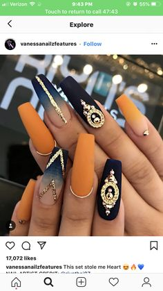 Ballerina Nägel - 40 amazing ideas for every occasion- Ballerina nails ideas for any occasion orange and blue ombre nails with stones and lines - Best Acrylic Nails, Acrylic Nail Designs, Nail Art Designs, Matte Nails, Nails Design, Orange Nail Designs, Gradient Nails, Holographic Nails, Autumn Nails Acrylic