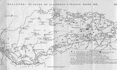 Rozloženie čsl. vojsk na Slovensku v polovici februára 1919