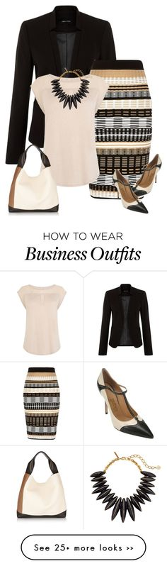 """Spring Work Wear #4"" by alpate on Polyvore featuring River Island, Karen Millen, Salvatore Ferragamo, Oscar de la Renta and Marni"