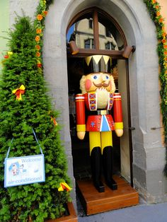 Large nutcracker greets customers of the Christmas store in Rothenburg, Germany