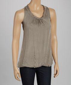 Brown Rosette Silk Scoop Neck Top #zulily #zulilyfinds Great layer piece with subtle texture!