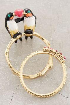 Lovebird Ring Set - anthropologie.com #anthroregistry