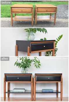 Diy Furniture: Before  After Satin Black and Walnut Mid Century M...