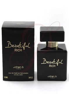 Johan B. Beautiful Rich 2.8 EDP Women - $29  About the product  This fragrance is 100% original. Beautiful Rich is recommended for daytime or casual use Size:2.8 oz EDP Spray  Beautiful Rich by Johan B. Paris is recommended for daytime or evening wear  Notes include: Bergamot, Grapefruit, Black currant, Rose, Red berries, Cherry, Plum, Vanilla, Musk, Cedar  Product Dimensions: 12.7 x 22.9 x 17.8 cm ; 454 g Item model number: 108711