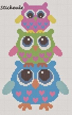 3 Owls ___ Mom Owl Stands w Girl Owl on Her HEAD & The Girl Owl Has a Baby Owl on Her HEAD___ Square Stitch *or* Loom Work ____ I will definitely use this owl cross-stitch pattern someday!- no link Cross Stitch Owl, Cross Stitch Animals, Cross Stitch Charts, Cross Stitch Designs, Cross Stitching, Cross Stitch Embroidery, Cross Stitch Patterns, Hand Embroidery, Motifs Perler