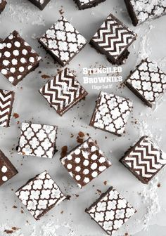 Stenciled Brownies using icing sugar for Tutorial Tuesday - I Sugar Coat It